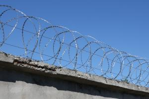 Спиральный барьер Гюрза 400/3 на заборе из бетонных плит