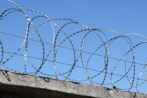 Барьер Гюрза 450/3 на бетонном заборе
