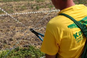 Installation of fence from Gurza barbed wire